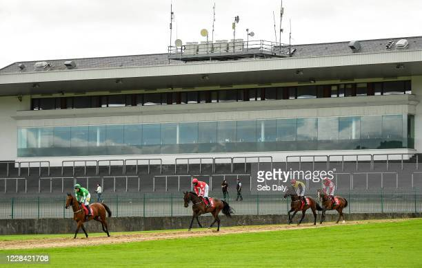 Kildare Ireland 9 September 2020 Runners and riders from left Lightsider with Jody McGarvey up Supreme Vinnie with Rachael Blackmore up Castle Canny...