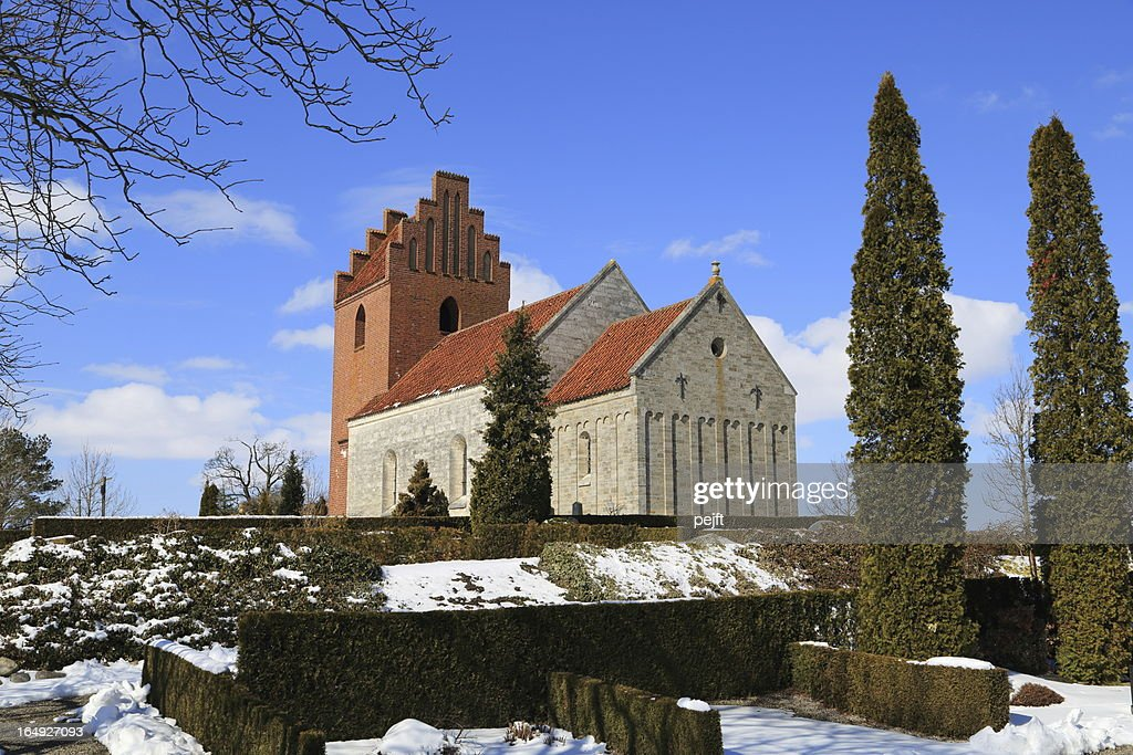 Kildebroende Landsby Kirke parish church : Stock Photo