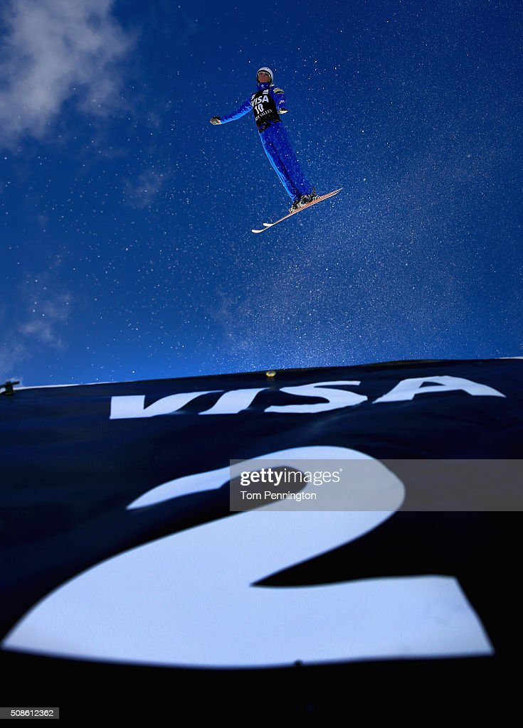 Kiley McKinnon jumps during qualifying in the FIS Freestyle Skiing Aerial World Cup at the Visa Freestyle International at Deer Valley on February 5, 2016 in Park City, Utah.