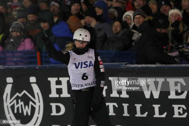 Kiley McKinnon of the United States reacts after jumping in the Ladies' Aerials Finals during the 2018 FIS Freestyle Ski World Cup at Deer Valley...