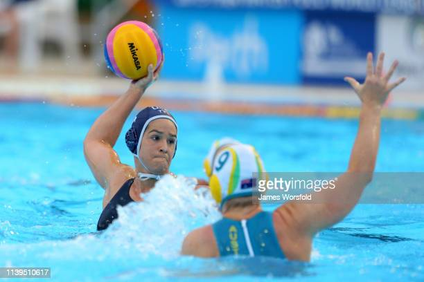 Kiley Neushul of the United States of America attempts to take a shot on goal during the 2019 FINA World League Inter-Continental Cup Woman's Gold...
