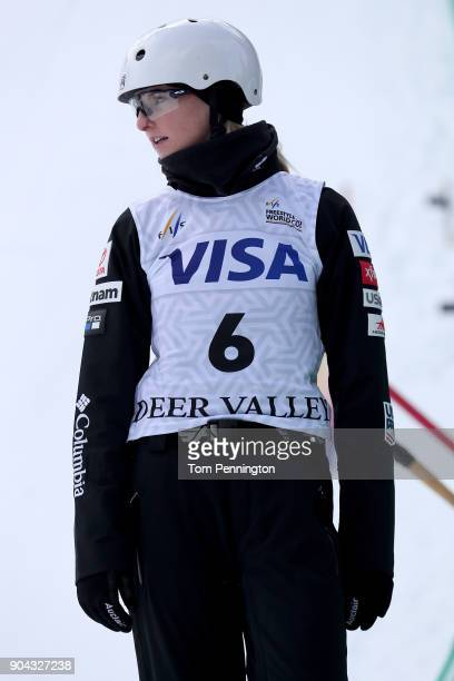 KileyMcKinnon of the United States prepares to compete in the Ladies' Aerials qualifying during the 2018 FIS Freestyle Ski World Cup at Deer Valley...