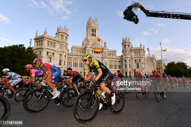 Kilian Frankiny of Switzerland and Team GroupamaFDJ / Tao Geoghegan Hart of Great Britain and Team Ineos / Mikel Nieve Ituralde of Spain and Team...