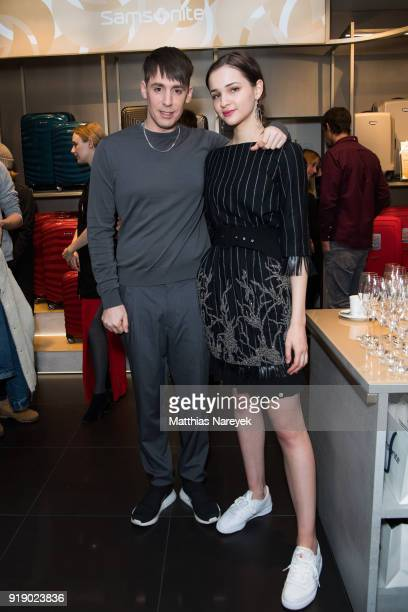 Kilian Kerner and Lisa Vicari attend the KaterImbiss hosted by Samsonite and Kilian Kerner on February 16 2018 in Berlin Germany