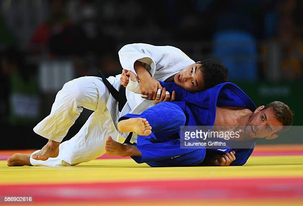 Kilian le Blouch of France and Baul An of Korea compete during the Men's 66kg Elimination round of 16 on Day 2 of the Rio 2016 Olympic Games at...
