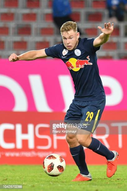 Kilian Ludewig of Liefering controls the ball during the 2 Liga match between FC Blau Weiss Linz v FC Liefering at TGW Arena on September 28 2018 in...