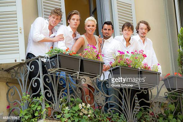 Kilian Marcus Nielsen Douglas Aaron Meyer Brigitte Nielsen Mattia Dessi Raoul Ayrton Meyer Jr and Julian Winding pose during a portrait session on...