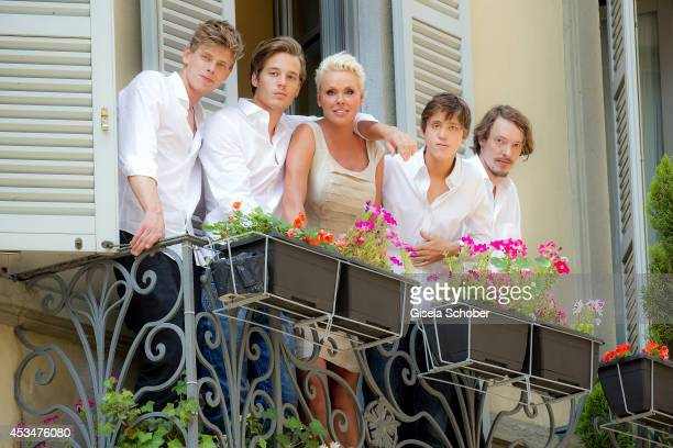 Kilian Marcus Nielsen Douglas Aaron Meyer Brigitte Nielsen Raoul Ayrton Meyer Jr and Julian Winding pose during a portrait session on July 6 2014 in...