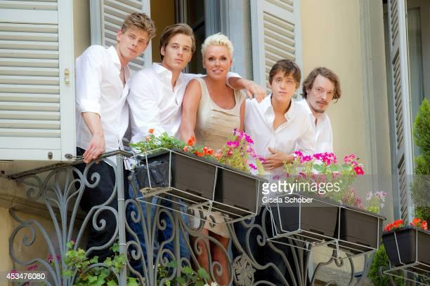 Kilian Marcus Nielsen, Douglas Aaron Meyer, Brigitte Nielsen, Raoul Ayrton Meyer Jr. And Julian Winding pose during a portrait session on July 6,...