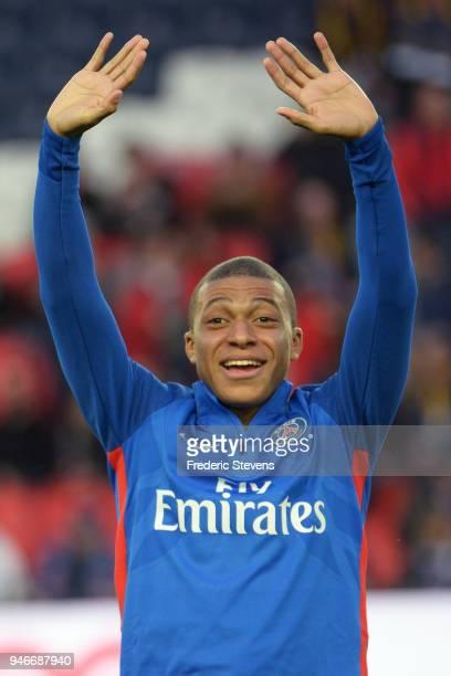 Kilian Mbappe Lottin of Paris SaintGermain during the Ligue 1 match between Paris Saint Germain and AS Monaco at Parc des Princes on April 15 2018 in...