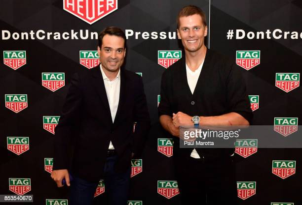 Kilian Muller CEO of TAG Heuer North America and New England Patriots quarterback Tom Brady attend TAG Heuer Unveils Tom Brady's Limited Edition...