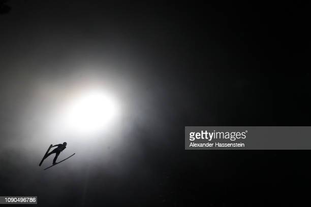 Kilian Peier of Switzerland competes during the first round on day 8 of the 67th FIS Nordic World Cup Four Hills Tournament ski jumping event at...