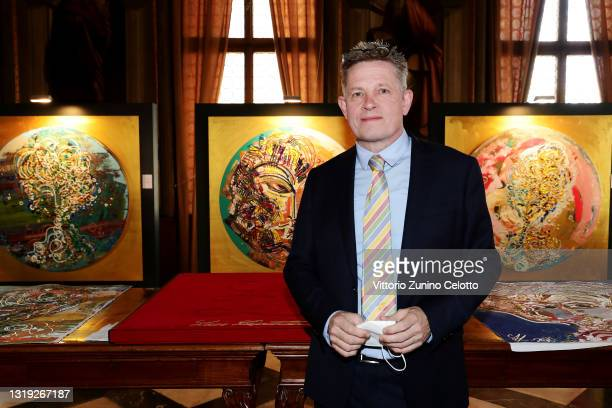 """Kilian Saueressig attends the exhibition opening """"Leonismo"""" by artist Leon Loewentraut on May 21, 2021 in Venice, Italy. In the library, directly on..."""
