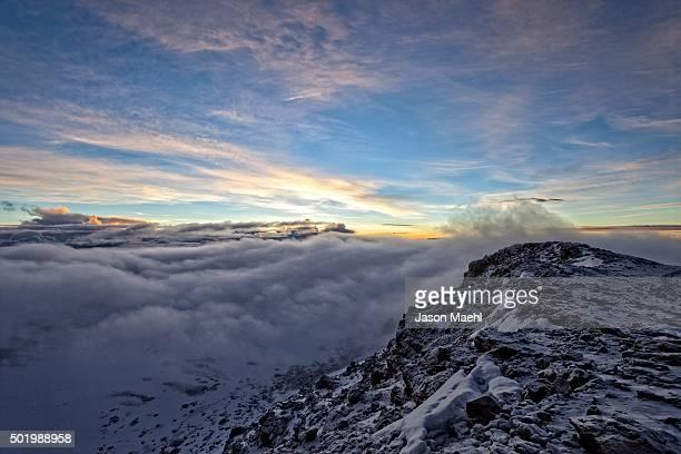 kilimanjaro sunrise, africa - mount meru stock photos and pictures