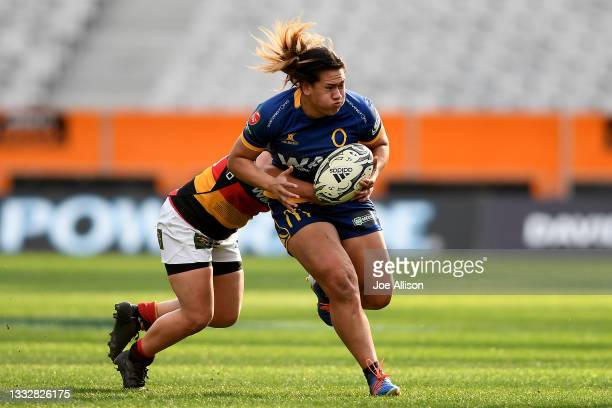 Kilisitina Moata'ane of the Otago Spirit attempts to evade the defence during the round four Farah Palmer Cup match between Otago and Waikato at...