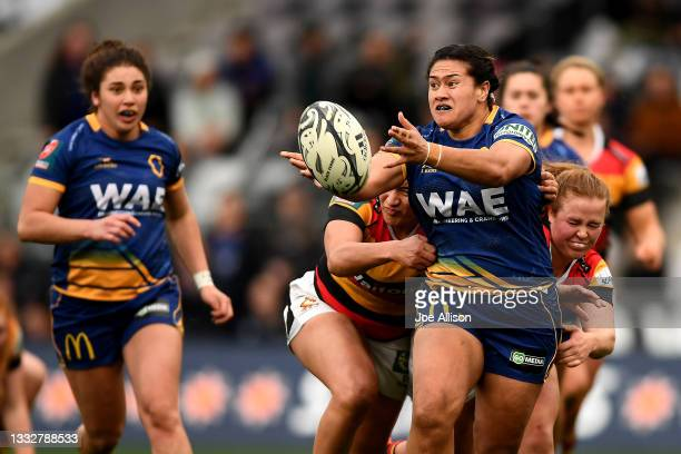 Kilisitina Moata'ane of the Otago Spirit passes the ball during the round four Farah Palmer Cup match between Otago and Waikato at Forsyth Barr...