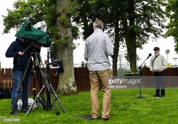 Kilkenny , Ireland - 17 June 2020; Trainer Johnny Murtagh is interviewed by Gary O'Brien, from Racing TV, after his horse So Suave won the MansionBet...