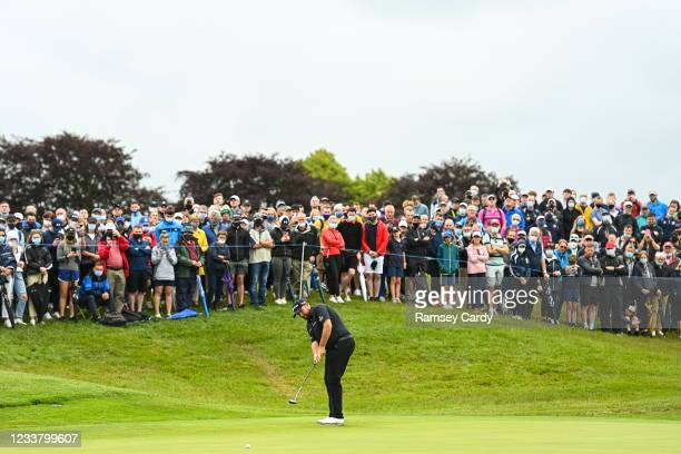 Kilkenny , Ireland - 4 July 2021; Shane Lowry of Ireland putts on the 18th green during day four of the Dubai Duty Free Irish Open Golf Championship...