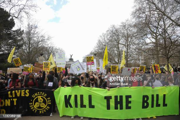 Kill the Bill demonstration in Central London against the proposed Police, Crime, Sentencing and Courts Bill on the 3rd April 2021, London, United...
