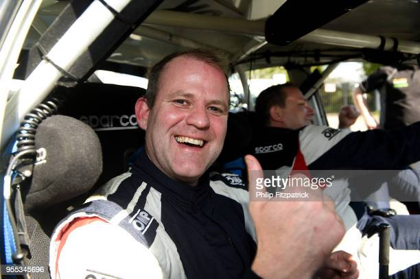 Killarney Ireland 6 May 2018 Manus Kelly celebrate after winning in his Subaru Impreza WRC at the end of special stage 16 Rossanean during Day Two of...