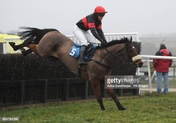 Killary Bay ridden by Harriet Bethell clears the last to win the John Wade Skip Hire Novices' Hunters' Steeple Chase at Catterick Racecourse Richmond