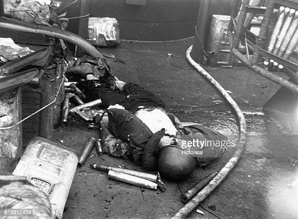 Killed at his station this gunner aboard a Navy landing craft made his allout contribution to the capture of Iwo Jima ca 1945 | Location on board a...