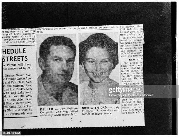 Killed in plane crash , 02 January 1952. Jay William Campbell;Judy Campbell -- 7 years ..