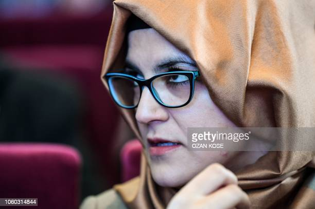 Killed journalist Jamal Khashoggi's Turkish fiancee Hatice Cengiz looks on as she attends a commemoration event of Khashoggi's supporters on November...