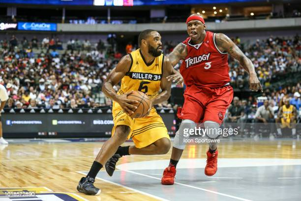 Killer 3's Alan Anderson dribbles around Trilogy Al Harrington during the Big 3 Basketball playoff game between the Trilogy and the Killer 3's on...