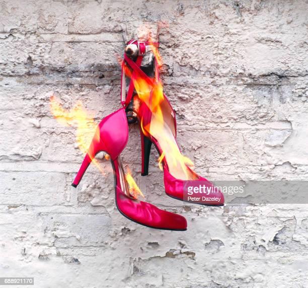 killer heels on fire revenge - revenge stock pictures, royalty-free photos & images