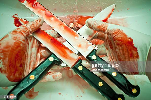killer holding bloody knives - blood in sink stock pictures, royalty-free photos & images