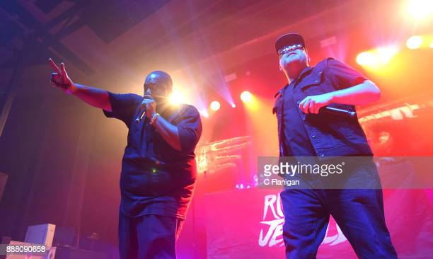 Killer Mike and ElP of Run the Jewels perform duirng the Live105 NSSN PreParty at UC Theatre on December 7 2017 in Berkeley California