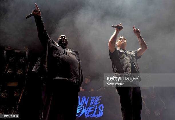 Killer Mike and ElP of Run The Jewels perform onstage at Staples Center on March 14 2018 in Los Angeles California