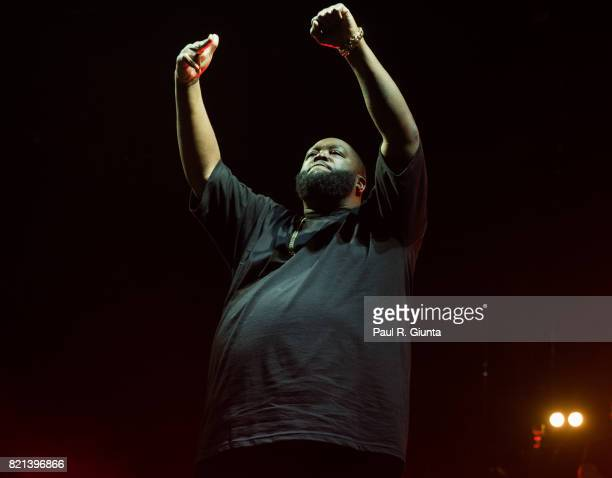 Killer Mike of Run The Jewels performs on stage in Exposition Park during Day 3 of FYF 2017 on July 23 2017 in Los Angeles California