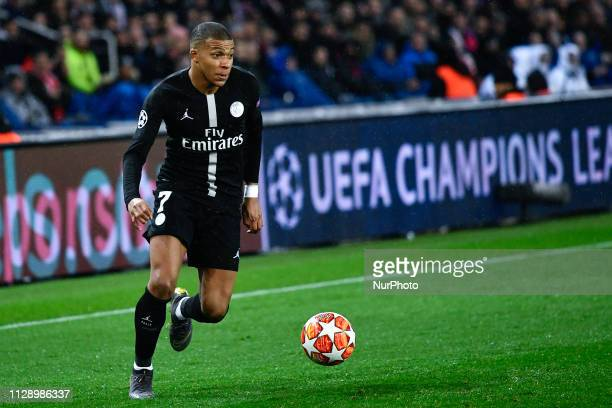 Killian Mbappe during the 8th final of the Champions league's match between Paris SaintGermain and Manchester United at Parc des Princes Stadium on...