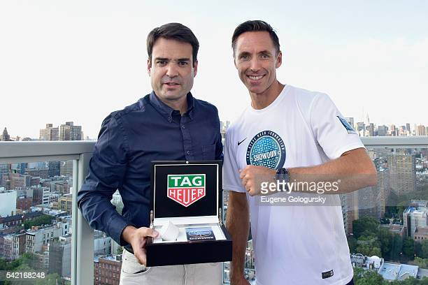 Killian Muller and Steve Nash pose with a TAG Heuer watch at the 9th Edition Steve Nash Foundation Showdown New York With Landon Donovan And David...