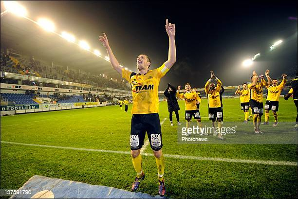 Killian Overmeire of Sporting Lokeren OVL celebrates the victory after the Cofidis Cup quarter-final match between KAA Gent and Sporting Lokeren in...