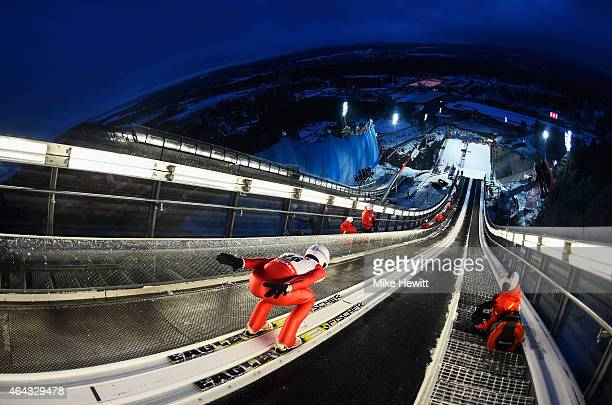 Killian Peier of Switzerland practices during the Men's Large Hill training during the FIS Nordic World Ski Championships at the Lugnet venue on...