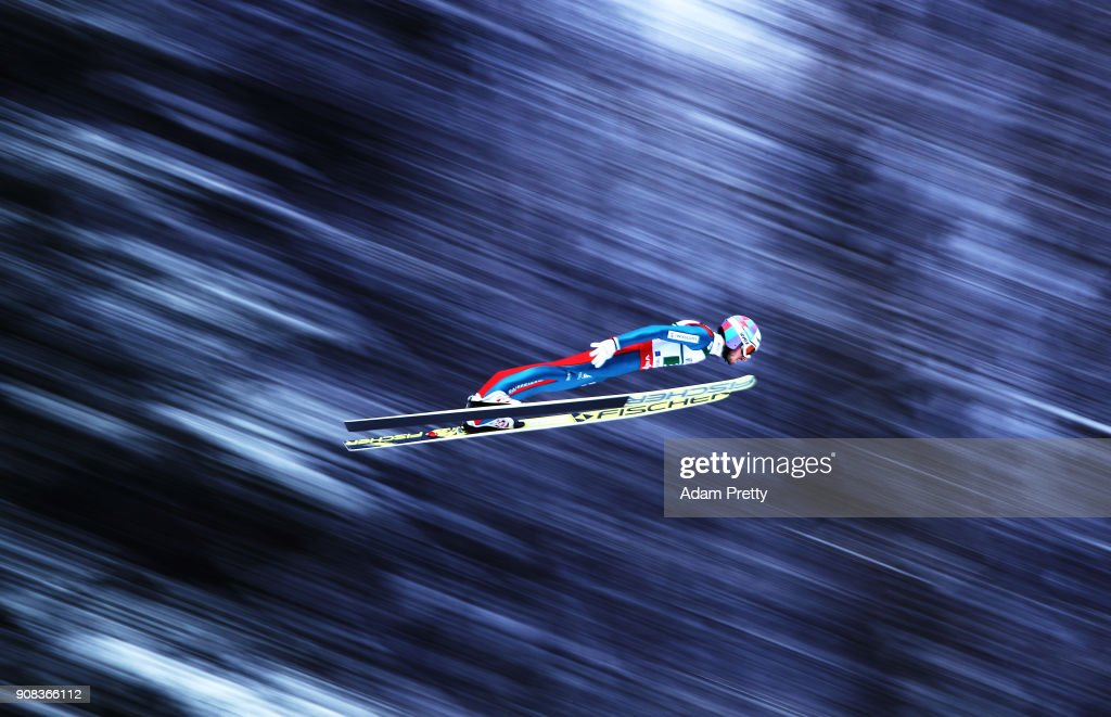 Killian Peier of Switzerland soars through the air during his first competition jump of the Flying Hill Team competition of the Ski Flying World Championships on January 21, 2018 in Oberstdorf, Germany.