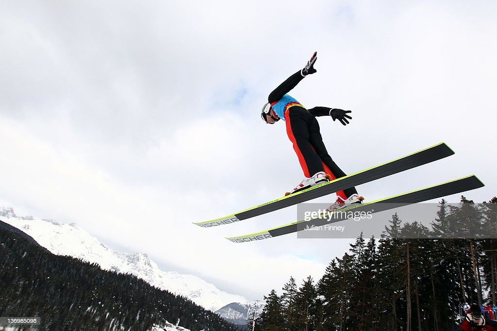 Killian Peier of Swizerland jumps during the Winter Youth Olympic Games Ski Jumping at Seefeld Arena on January 14, 2012 in Seefeld, Austria.