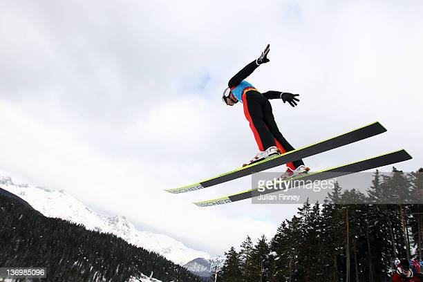 Killian Peier of Swizerland jumps during the Winter Youth Olympic Games Ski Jumping at Seefeld Arena on January 14 2012 in Seefeld Austria