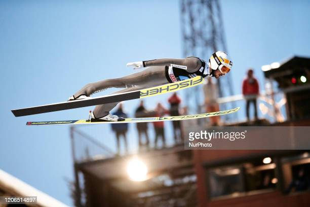 Killian Peier soars in the air during the men's large hill team competition HS130 of the FIS Ski Jumping World Cup in Lahti, Finland, on February 29,...