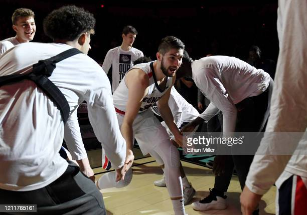Killian Tillie of the Gonzaga Bulldogs is introduced before taking on the Saint Mary's Gaels in the championship game of the West Coast Conference...