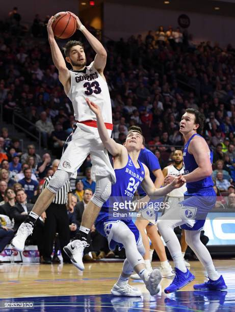 Killian Tillie of the Gonzaga Bulldogsdrives to the basket against McKay Cannon of the Brigham Young Cougars during the championship game of the West...