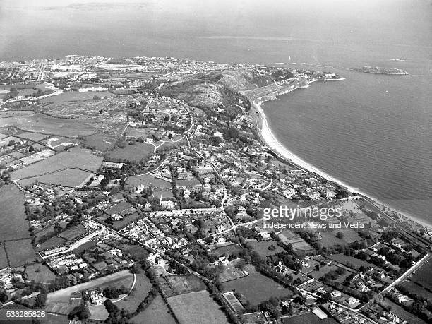 Killieny Strand with the coast road and railway above it going to Dalkey County Dublin In the centre of the picture lies Killiney village 23/07/54...