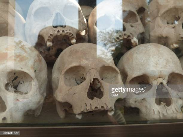 Killing Field-Cambodian genocide. The skulls of the victims at the Killing Field of Choeung Ek. The Killing Fields are a number of sites in Cambodia...