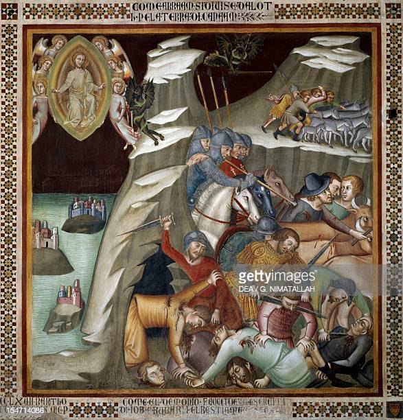 Killing of Job's servants and abduction of the herds scene from the Stories of the Old Testament by Bartolo di Fredi fresco Collegiate Church of St...