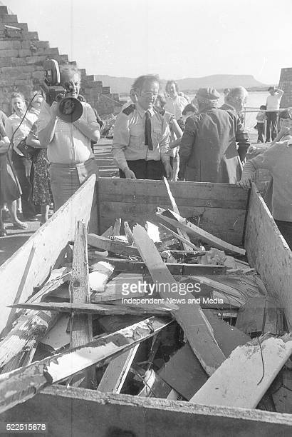 Killing of Lord Louis Mountbatten by IRA explosion at MullaghmoreCo Sligo Part of the wreakage of Lord Mountbattens boat the Shadow V circa August...