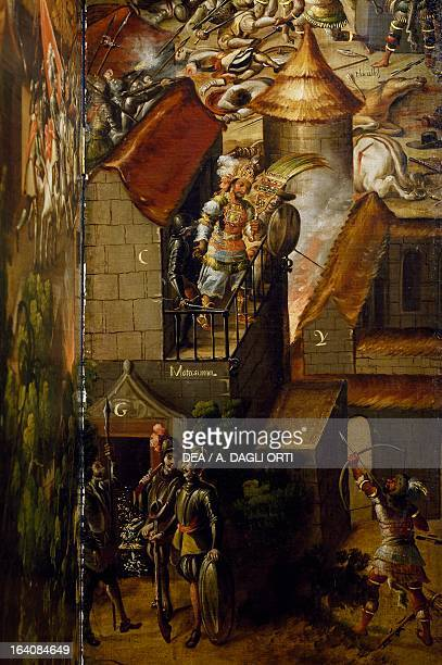 Killing of Montezuma and the pillaging of his treasure detail of the folding screen with the Conquest of Mexico by an unknown 17th century artist oil...