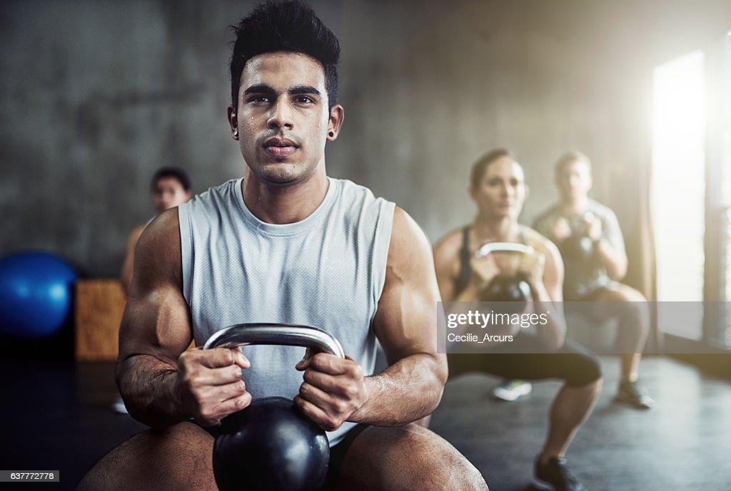 Killing that kettlebell workout : Stock Photo